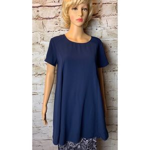 Lush Dark Blue Tunic Top